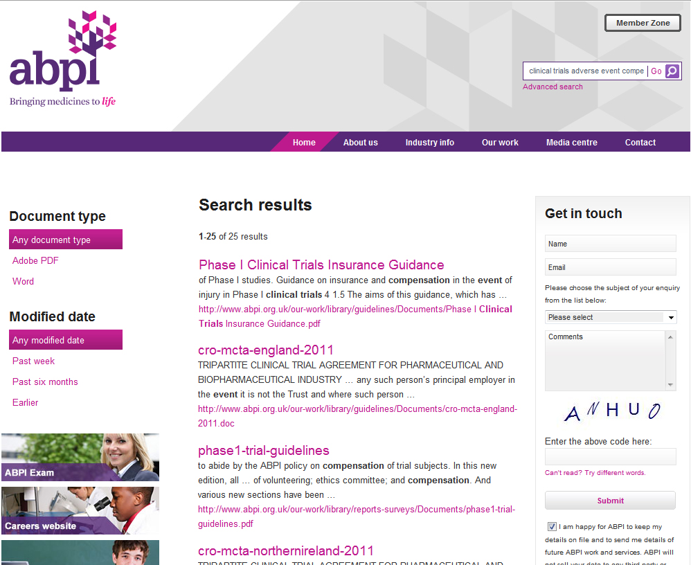 British Clinical Trials adverse Event Compensation search results