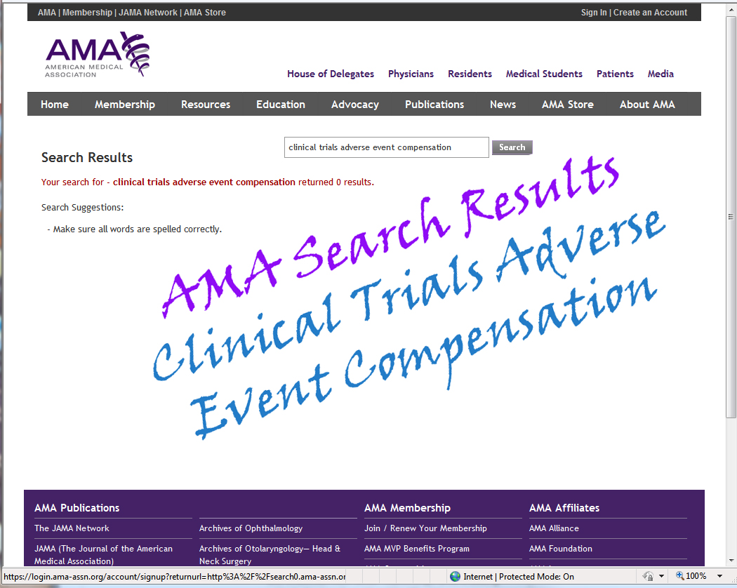 American AMA Clinical trials adverse events compensation search results